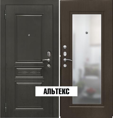 Входные двери - SD Prof-10 Троя-Зеркало Темный орех